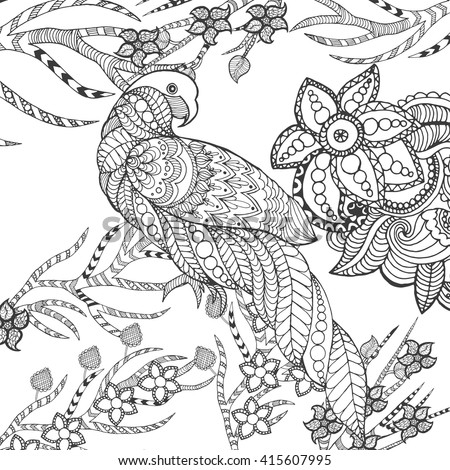 Cute parrot in fantasy garden. Animals. Hand drawn doodle. Ethnic patterned illustration. African, Indian, totem tattoo design. Sketch for avatar, tattoo, poster, print or t-shirt.