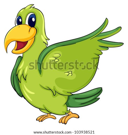 Cute parrot on a white background - stock vector