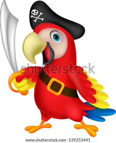 Cute parrot pirate cartoon - stock vector