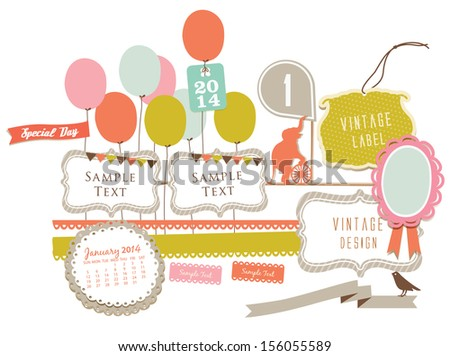 Cute Party background element - stock vector