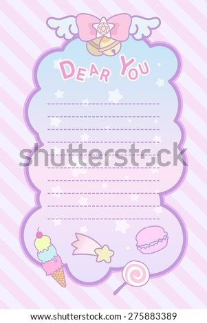 cute pastel magical lovely ribbon and sweet letter template - stock vector
