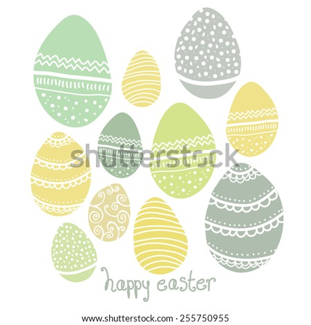 Cute Pastel Patterned Easter Egg Vector Design - stock vector
