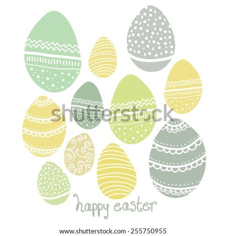 Cute Pastel Patterned Easter Egg Vector Design