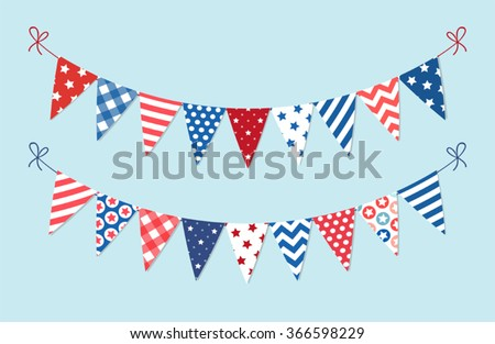 Cute patriotic bunting in traditional colors for Presidents Day, Independence Day, Veterans Day, Memorial Day - stock vector