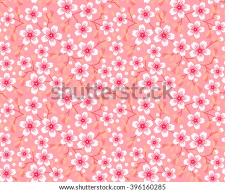 Cute pattern in small flower. Pink Sakura flowers, blossoming japanese cherry. Symbol of spring. Small colorful flowers. Pink background. Floral seamless pattern. Small cute simple spring flowers. - stock vector