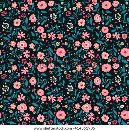 Cute pattern in small flower. Small pink flowers. Black background. Spring floral background. The elegant the template for fashion prints.  - stock vector