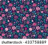 Cute pattern in small flower. Small pink flowers. Dark blue background. Ditsy floral background. The elegant the template for fashion prints. - stock vector
