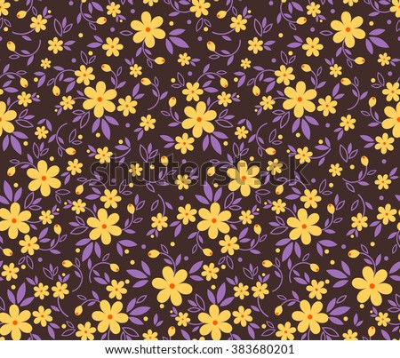Cute pattern small flower small yellow stock vector 383680201 cute pattern in small flower small yellow flowers purple background mightylinksfo