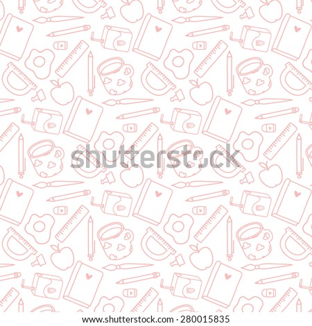 cute pattern with doodle hand drawn school supplies on white background. can be used for greeting cards, notebook covers, banners