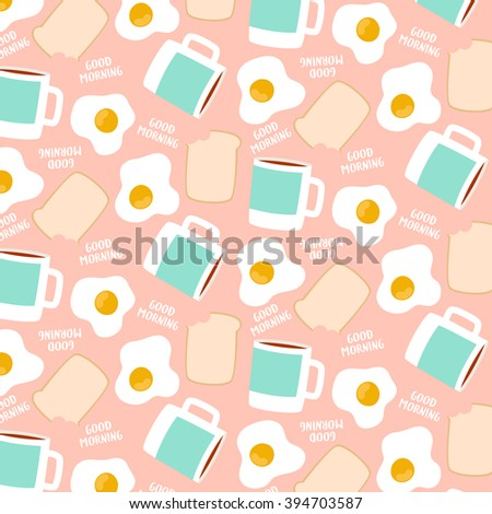 Cute Pattern With Eggs Toast And Cups Of Coffee Or Tea On Pastel Pink Background