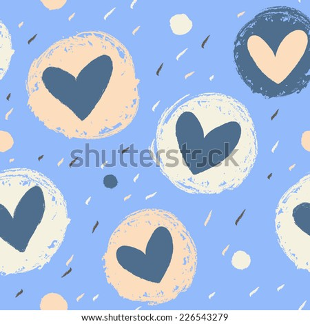 Cute pattern with flowers and polka dot. background with pastel colors. - stock vector