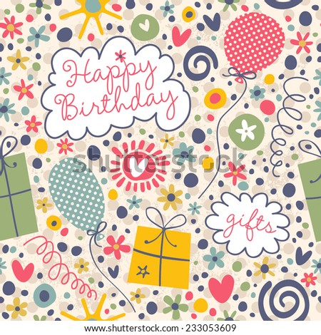 Cute pattern with gifts, streamers and flowers. Seamless vector background for your design. - stock vector