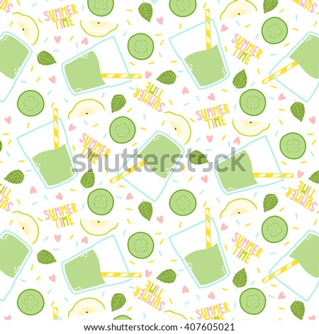 cute pattern with smoothies, cucumber, apples and mint leaves on white background. can be used like pattern for textile, wrapping paper, greeting cards etc