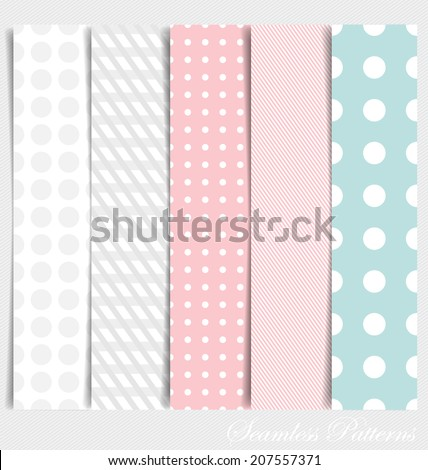 Cute patterns and seamless backgrounds. Ideal for printing onto fabric and paper or scrap booking. - stock vector
