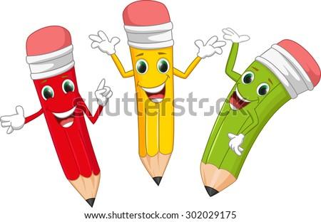 cute pencil cartoon - stock vector
