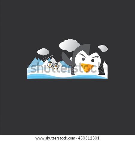 Cute Penguin Portrait Vector Illustration - stock vector