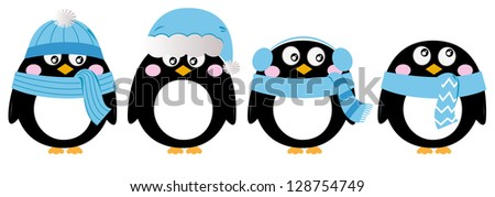 Cute penguin set isolated on white ( blue ) - stock vector