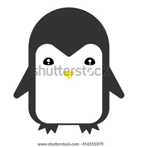 Cute penguin vector flat illustration. - stock vector
