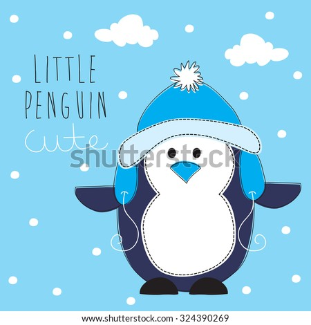 cute penguin vector illustration - stock vector