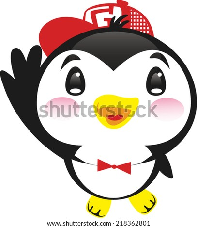 Cute penguin with red cap vector. - stock vector