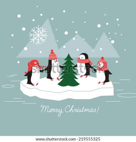 cute penguins and christmas tree   - stock vector