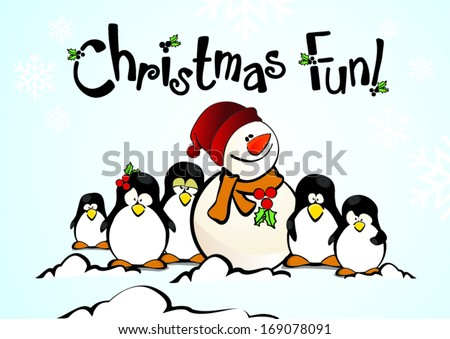 cute penguins and happy snowman having christmas fun - stock vector