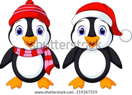 Cute penguins cartoon - stock vector