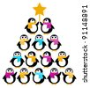 Cute Penguins creating Christmas Tree isolated on white - stock vector