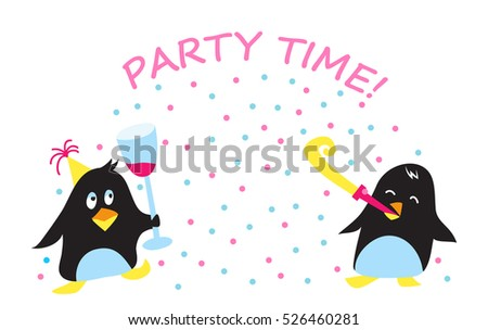 Cute penguins flat vector illustration for Christmas holiday, New Year or Birthday card, Party invitation