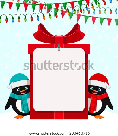 Cute penguins with red gift box and empty banner - stock vector