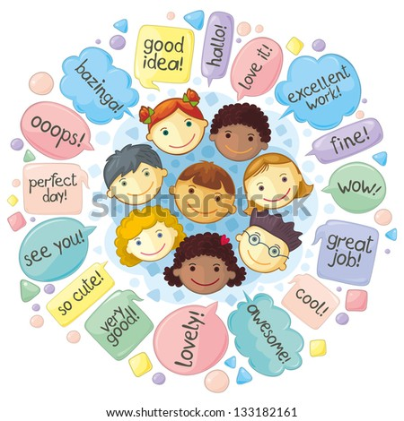 Cute Personages Gathering For Communication. Various phrases in speech balloons. - stock vector