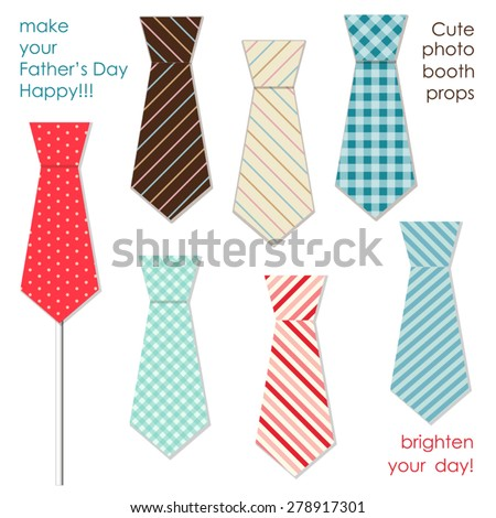 Cute photo booth props of men ties to make your Father's Day really happy! - stock vector