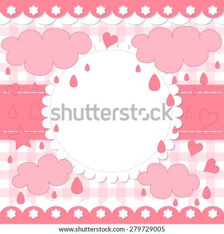 Cute photo frame. Baby shower card. Scrapbook elements. Vector illustration. - stock vector