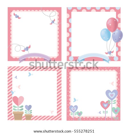 Cute Picture Frame Happy Birthday Celebrate Stock Vector (2018 ...