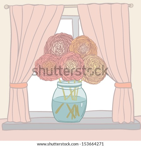 Cute picture of ranunculus bouquet standing on the window. Welcome home card. Perfect for announcement and greeting card.  - stock vector