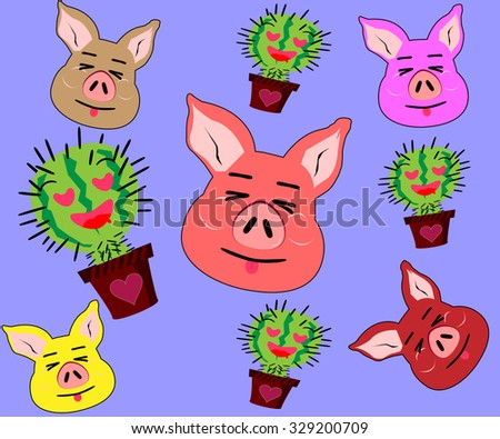 cute pig and cactus cartoon background - stock vector