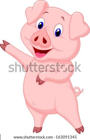 Cute pig cartoon - stock vector