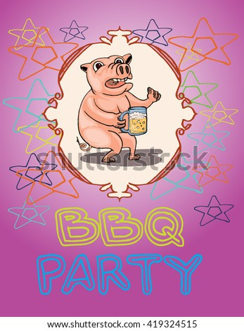cute pig cartoon illustration in bbq party template - stock vector