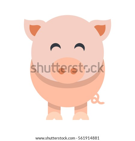cute pig flat vector illustration