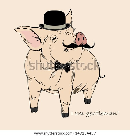 Cute Pig Gentleman in Bowler Hat and Mustache, Piggy Hipster, Retro Look, Vector Illustration - stock vector