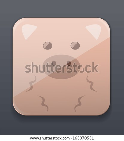 Cute pig icon - stock vector