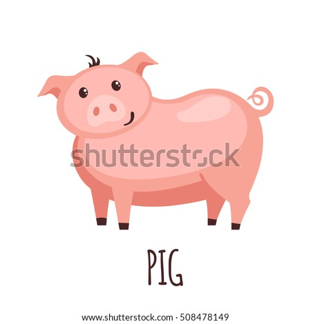 Cute pig in flat style isolated on white background. Vector illustration. Farm animal. Cartoon pig.