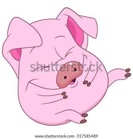 cute pig is sitting and laughing - stock vector