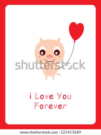 cute pig valentine card - stock vector