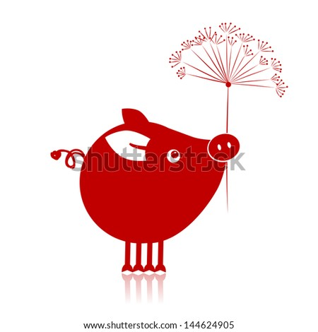Cute piggy with flower for your design - stock vector