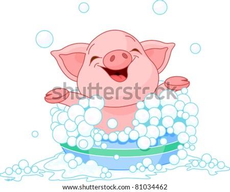 Cute Piglet taking a bath - stock vector