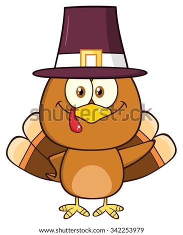 Cute Pilgrim Turkey Bird Cartoon Character Waving. Vector Illustration Isolated On White - stock vector