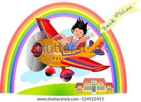Cute pilot flying on yellow airplane