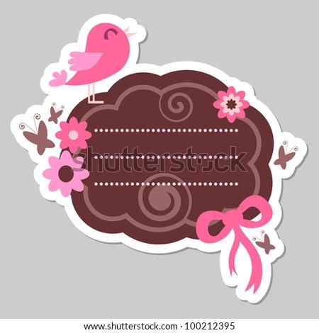 Cute pink bird frame design - stock vector