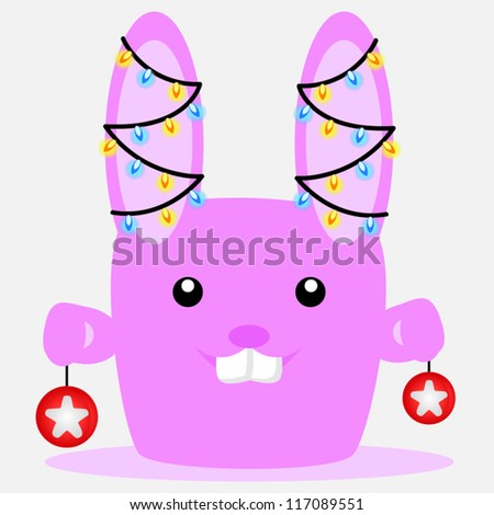 Cute pink bunny with lights on his ears - stock vector